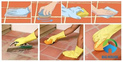 cách lau gạch bóng kiếng