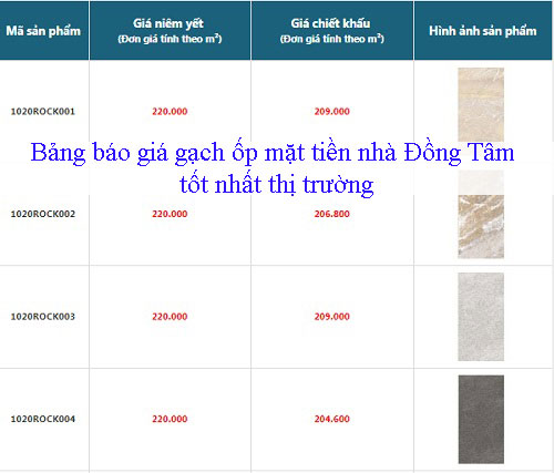 Bảng báo giá gạch ốp mặt tiền nhà Đồng Tâm tốt nhất thị trường