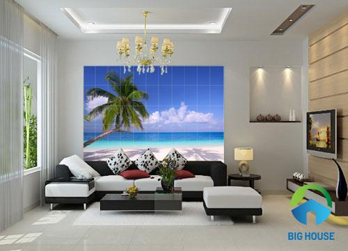 Hướng dẫn cách sử dụng gạch tranh ốp tường phòng khách