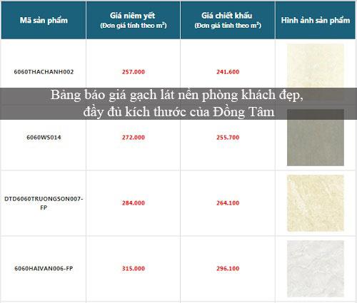 Bảng báo giá gạch lát nền phòng khách đẹp với đầy đủ kích thước