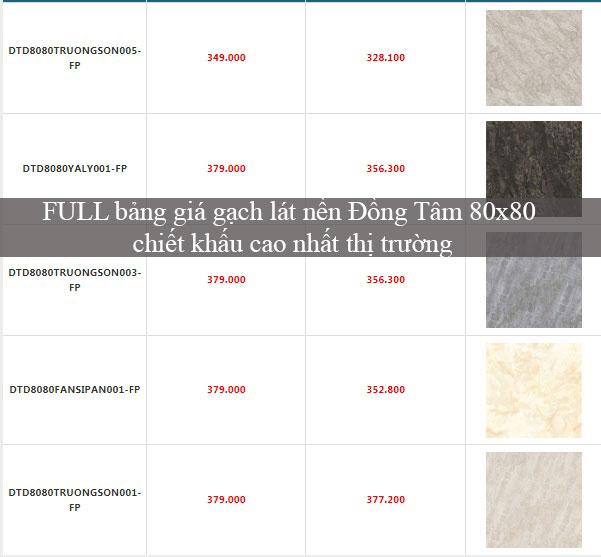 FULL bảng giá gạch lát nền Đồng Tâm 80×80 chiết khấu cao nhất thị trường