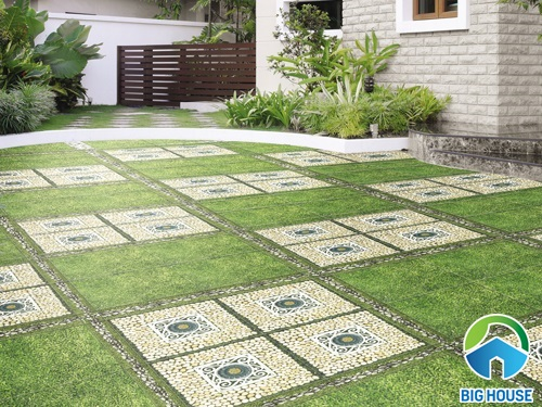 Loạt ý tưởng phối cảnh gạch cỏ lát sân vườn đẹp choáng ngợp