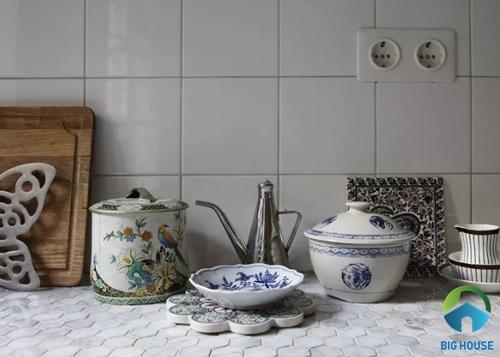 Mẫu gạch ốp bàn bếp hình lục giác