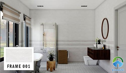 Gạch ốp gạch 30x60 FRAME 001 của Đồng Tâm cho nhà vệ sinh. Với việc ốp phối màu đậm, nhạt tạo ấn tượng mạnh cho thị giác. Đây là phong cách theo trường phái sang trọng.