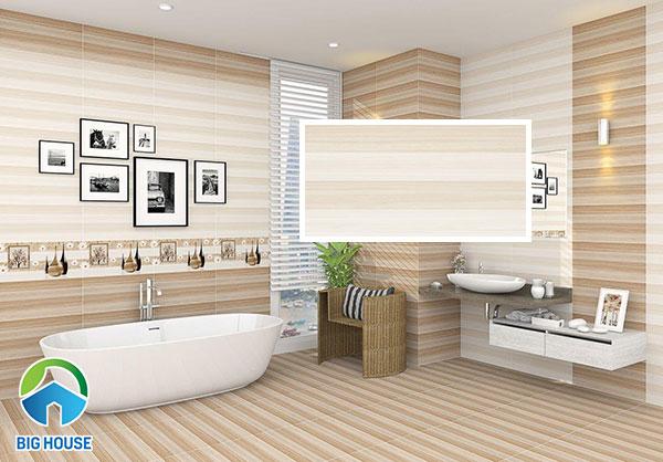 HP 3601 cũng là mẫu gạch ốp nhà vệ sinh 30x60 đáng mua hiện nay. Sản phẩm có vân kẻ ngang cùng tông màu vàng tạo hiệu ứng mở rộng cho những không gian hẹp.