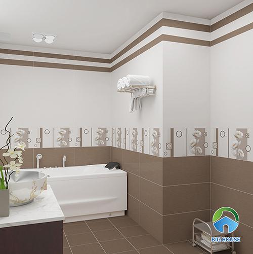 Gạch ốp tường 5064 của Vitto với tông màu sáng trắng tạo cảm giác thoáng đãng.