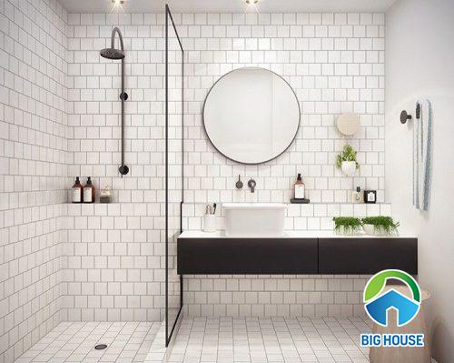 Gạch thẻ trắng hình vuông ốp tường nhà vệ sinh