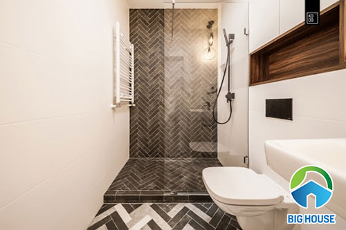 Ốp gạch nhà vệ sinh kiểu xương cá