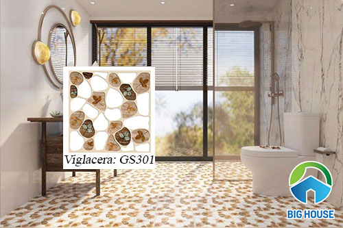 gạch lát nền nhà tắm hình sỏi Viglacera GS301