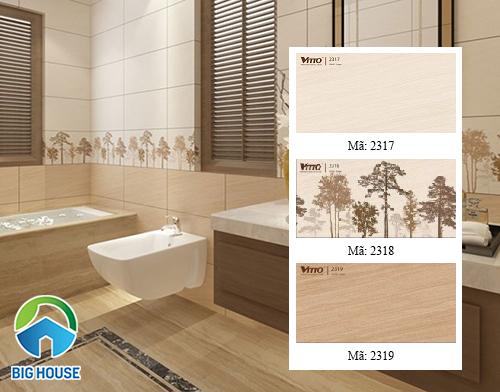Bộ gạch màu kem ốp tường nhà tắm của Vitto