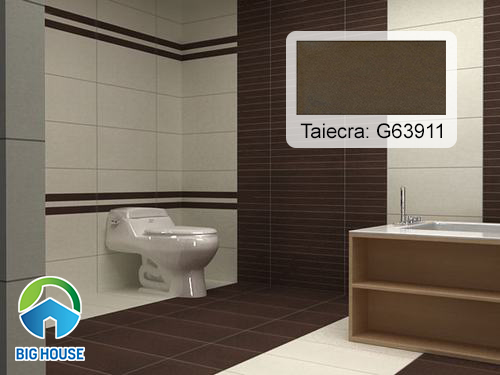 Gạch Taicera G63911 tone màu nâu lát nền nhà vệ sinh