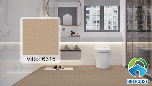 Gạch lát nền nhà vệ sinh màu nâu nhạt của Vitto 6315