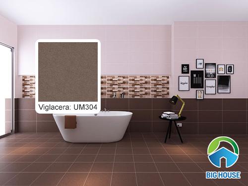 Mẫu gạch lát nền nhà vệ sinh màu nâu Viglacera UM304
