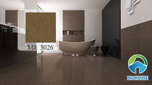 Gạch Tasa mã 3026 màu nâu lát nền nhà vệ sinh