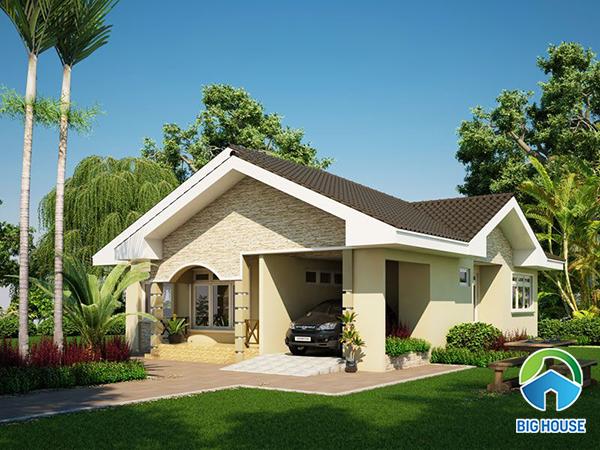 chọn gạch ốp mặt tiền nhà mái thái