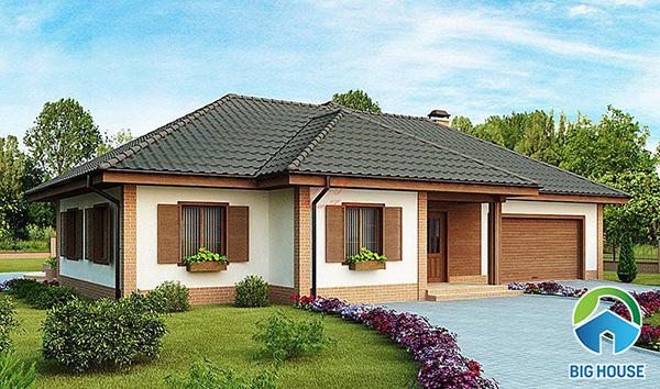 mẫu gạch ốp tường mặt tiền nhà mái thái