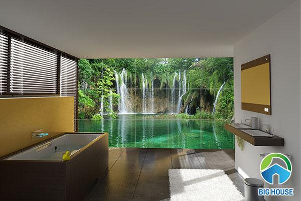 gạch tranh 3d ốp tường nhà tắm đẹp