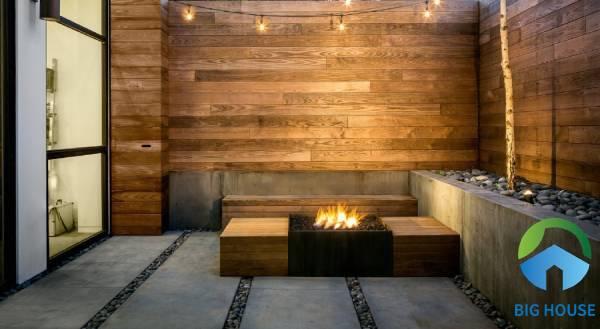 Gạch ốp tường sân vườn giả gỗ